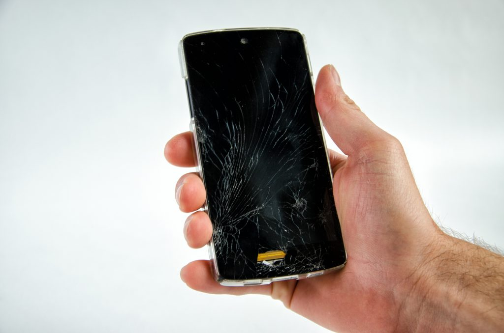 Cracked android smartphone
