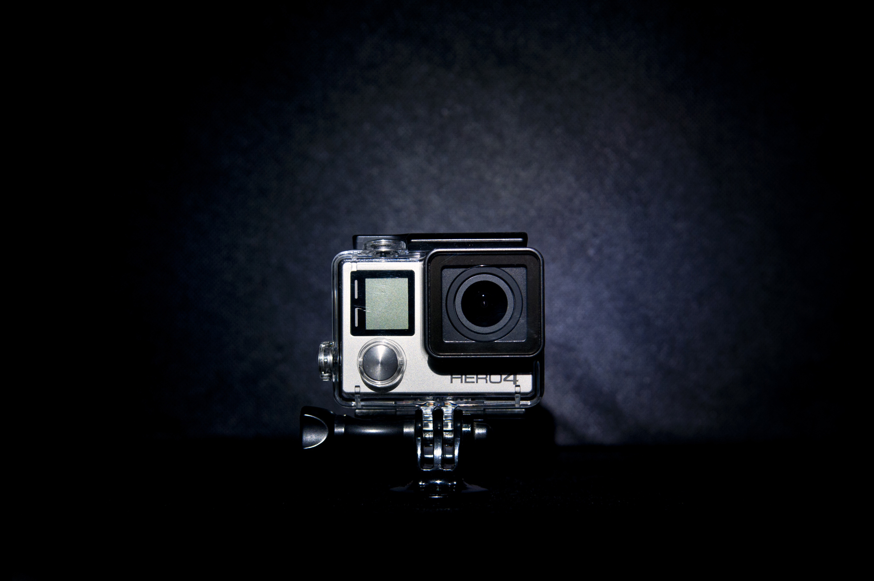 A GoPro set up in a dark room