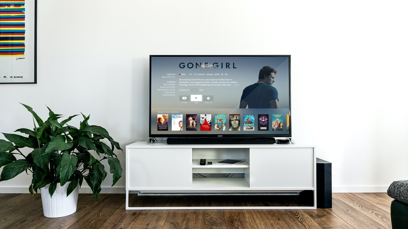 A TV with Netflix loaded from Apple TV